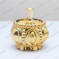 Wholesale luxury mini electroplate gold glass candle jar, gold glass container with gold lid from china suppliers