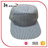 Wholesale Stripe cheap mens stripe 5 panel custom embroidered baseball cap for adults from china suppliers
