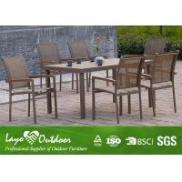 Wholesale Outdoor Faux Wood Patio Furniture With Aremrest Backyard Dining Sets Alum Frame from china suppliers