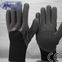 Wholesale Polyester Jersey Liner Latex Coated Gloves 13Gauge with 3/4 Black Crinkle from china suppliers