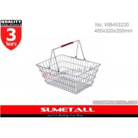 Wholesale Shining Surface Metal WIre Shopping Basket With Handles For Supermarket from china suppliers