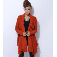 China Womens Chunky Cable Knit Sweaters Orange Knit Poncho Acylic / Polyester on sale