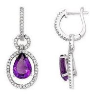 Quality Amethyst and Diamond 14K White Gold Drop Earrings for sale