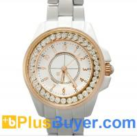 Wholesale White Bling Diamond Analog Watch for Girls with Gold Rim and Stainless Steel Backing from china suppliers