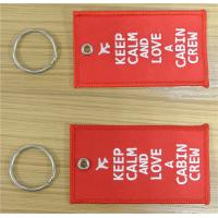 Wholesale Keep Calm And Love A Cabin Crew Novelty Luggage Crew Fabric Embroidery Tags Keychain from china suppliers
