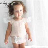 Angou INS popular baby sets European&American style pink tops+bow pants 2pcs sets infant