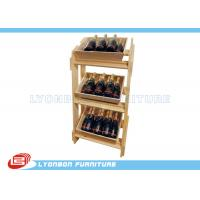 Wholesale Natural MDF Wood Display Stands SGS / Free Standing Wine Display Shelves For Retail Shop from china suppliers