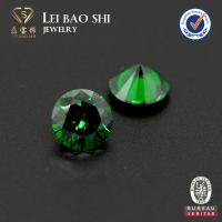 Quality 5A Grade Round Diamond Cut Emerald Green synthetic CZ for sale
