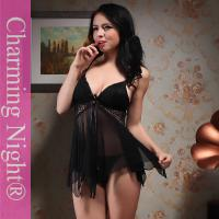 Buy cheap Black Nylon Black Sexy honeymoon babydoll short night dress With Bras from wholesalers
