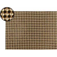 A piece of metallic cloth with 4mm round shape and bright brass color.