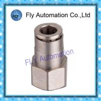 Wholesale Pneumatic Tube Fittings Straight thread nickel-plated brass push-in fittings PCF series from china suppliers