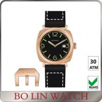 Wholesale Black Embossed Dial Vintage Bronze Mens Watch Logo Available OEM from china suppliers