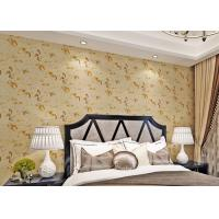Wholesale Low Flammability Floral Deep Embossed PVC Living Room Wallpaper Yellow from china suppliers