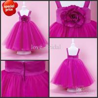 China Cheap Fuchsia Ankle Floor Ball Gown Communion For Girls Party Dresses Pageant Gowns on sale