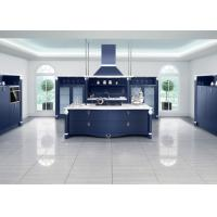 Quality Frameless Blue European Style Kitchen Cabinets Raised Panel PVC Door U Shape for sale
