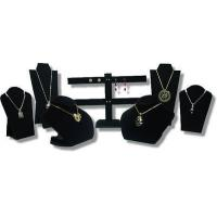 7pcs SET BLACK VELVET NECKLACE EARRING PENDANT CHAIN JEWELRY DISPLAY STAND