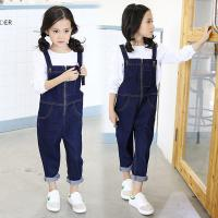 Wholesale Cotton Spandex Baby Girls Kids Overall Jeans With Embroidered Pocket from china suppliers