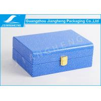 Wholesale Small Size Blue PU Leather Gift Box / Leather Packaging Box With Gold Lock from china suppliers
