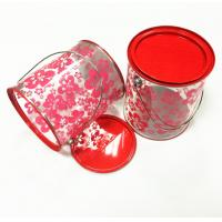Buy cheap Customized Fancy printing Handle Round gift tin box with Clear plastic Body and tin lid from wholesalers