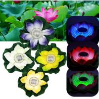 Wholesale Multi-Color RGB Garden Pool Floating Lotus Solar Powered LED lamp Flower Night Light Fountain Pond Solar Lighting from china suppliers