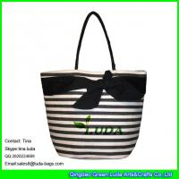Quality LDZB-095 large paper straw shopping bag big bowknot beach straw bags for sale