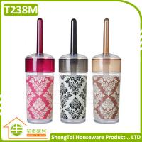 Wholesale Baroque Style Flexible PP Plastic Toilet Brush And Holder With Pattern Printing from china suppliers