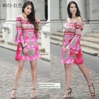 Buy cheap straples printed women dress with balloon sleeve national dresses from wholesalers