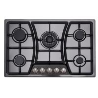 Wholesale Built In Black 5 Ring Gas Hob Stainless Steel With Cast Iron Pan Supports from china suppliers