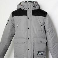 China Soft Polyester Light Padded Jacket Black And Grey Color Casual Style With Hood for sale