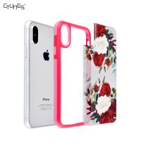 Buy cheap Floral Iphone x Case with Interchangeable Back Panel , Red Shockproof Bumper Phone Case from wholesalers