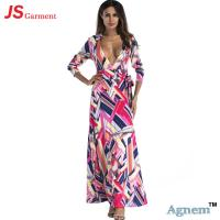 Wholesale 88YD5015 Western Style Sexy Print High Waist Deep V-Neck Women Floral Long Dress from china suppliers