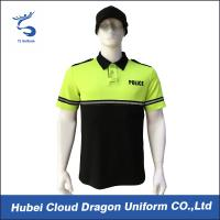 Wholesale Light Yellow Two Tone Security Guard T Shirts With Fluorescent Tape , Styles Customized from china suppliers