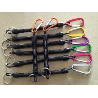 Wholesale Assorted colors carabiner black spiral coil lanyard holder w/key ring as plier safe leash from china suppliers