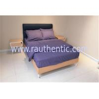 Stable wood frame bed with Upholstered headboard and Wood slat