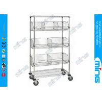 Wholesale Powder Coated Mobile Wire Basket Shelving / Adjustable Wire Shelves for Warehouse from china suppliers