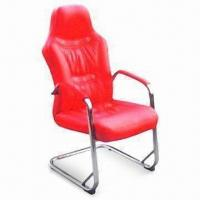 Quality Red PU Staff Chair with 35# Sponge and Chrom Frame, Packed in Carton for sale