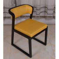 Wholesale Yellow PU Leather Wooden Frame Dining Chairs Restaurant Comfortable Dining Room Chairs from china suppliers
