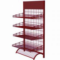 Wholesale Powder Coating 4 Tire Red Storage Wire Display Racks / Shelf For Stores Promotion from china suppliers