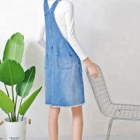 Wholesale Ripped Knee Length Ladies Dungaree Dress , Women Denim Dress With Pockets from china suppliers