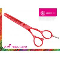 Wholesale Red Teflon Coating Stainless Steel Hair Thinning Scissors With Convex edge from china suppliers