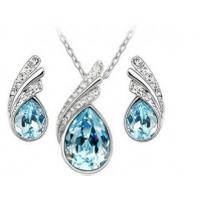 Buy cheap Full Diamond Jewelry Set Gorgeous Leaf Earring Necklace Drops Design from wholesalers