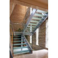 Wholesale Modern Straight Staircase Design With Glass Railing and Wood Tread from china suppliers