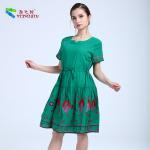 China Short Sleeve Waist Green Ladies Cotton Dresses , Floral Cotton House Dresses for sale