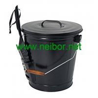 Wholesale matt black color powder coated galvanized steel coal bucket scuttles with lid and shovel from china suppliers