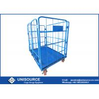 Wholesale Blue Steel Roll Container Medium Duty 4 Sided Roll Cages With PP / PU Wheels from china suppliers