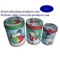Wholesale Gift Set of 3 Round Tin Metal Box with Slip Cover, Gift Tin Box Set for Christmas from china suppliers