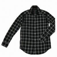 China Men's Black Checked Shirt with Long Sleeves on sale