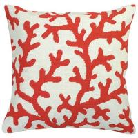 Wholesale Orange Coral Cotton Linen Outdoor Decorative Pillows Screen Printed from china suppliers