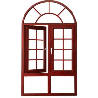 Wholesale Arched Aluminium Casement Windows Soundproof Wood Grain Powder Coated Grilled Design from china suppliers