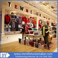 Quality OEM Service wooden lacquer Youth Clothing Stores display furnitures with led lighting decorated for sale
